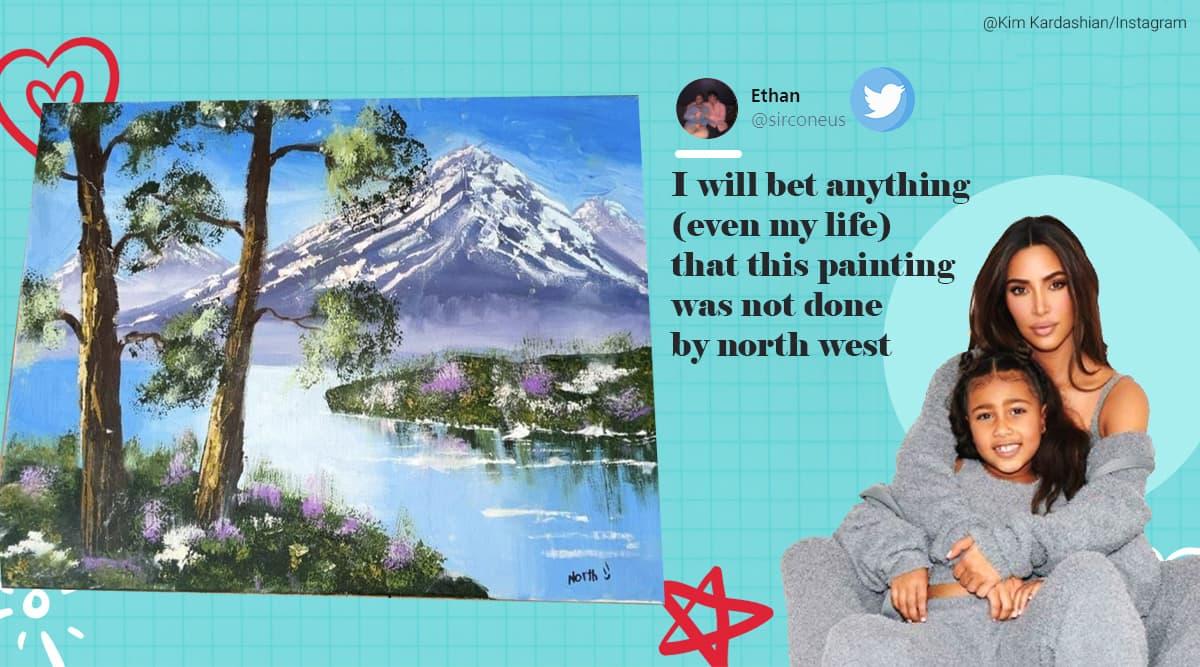 Kim Kardashian, North West oil painting, Twitter reaction, Trending news, North West oil painting vs bob Ross, North West oil painting memes, North West oil painting jokes, Trending news, Indian Express news.