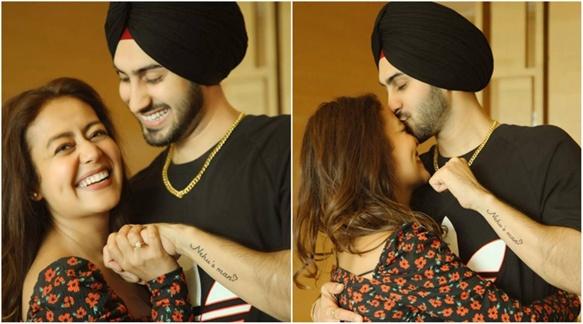 Neha Kakkar gets best Valentine's Day gift from husband Rohanpreet as he gets 'Nehu's Man' tattooed on his arm - The Indian Express