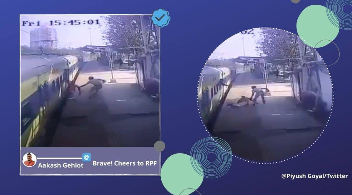 RPF officer saves differently-abled man, Mumbai, RPF differently-abled man viral video, RPF officer Panvel railway station, Mumbai, Viral video, Trending news, Indian Express news