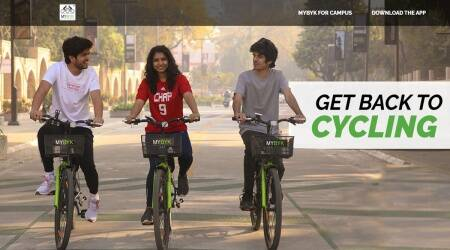 MyByk, MyByk app, How does MyByk work, Kochi Metro, Ahmedabad startups, Ahmedabad MyByk, MyByk cycles, Kochi MyByk, indian express