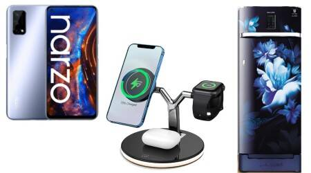 Realme Narzo 30 Pro 5G, Samsung single door refrigerators, Anker power bank, RAEGR wireless charger, syska p2024j power bank, helix smartwatch, sony srs ra3000 smart speaker, mi neckband pro, mi portable speaker, Optoma ZK750 projector, tcl wired earphones, tcl bluetooth earphones, tcl anc headphones, noise buds pop, noise buds pro, inbase urban lyf smartwatch, haier 4k android tv
