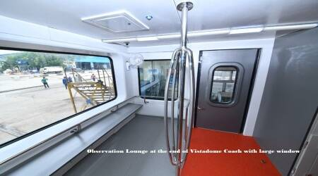 South Western Railway, Vistadomes, Vistadome coaches, western ghats train ride, Bengaluru to Mangaluru trains, Prime Minister Narendra Modi, Vistadome coach facilities, india news, indian railways, indian express