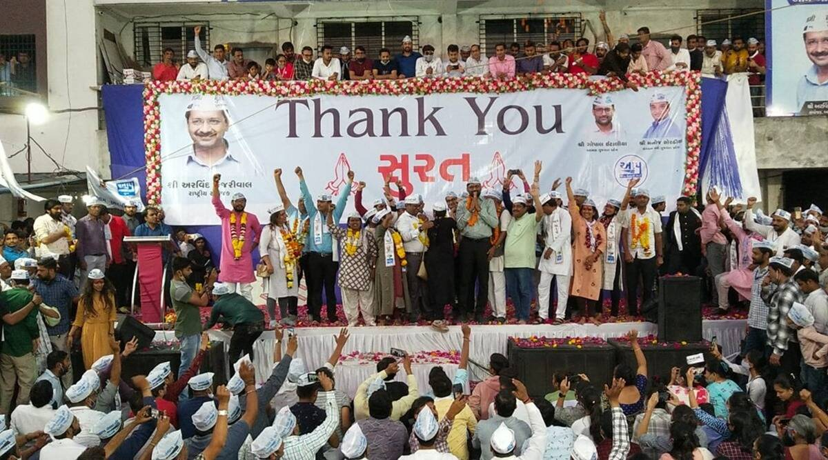 Aam Aadmi Party emerges second in Surat after BJP, no seats for Congress