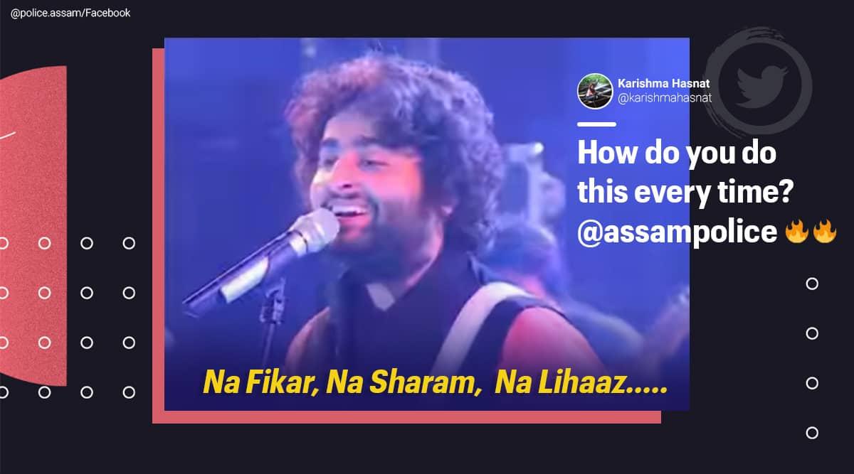 assam police, arijit singh, arijit singh song, assam police funny post, assam police arjit singh song memes, police funny memes, indian express