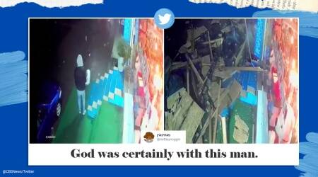 Istanbul, Turkey, man's narrow escape caught on camera, man escapes roof collapse CCTV footage, narrow escape CCTV footage viral video, Trending news, Indian Express news.