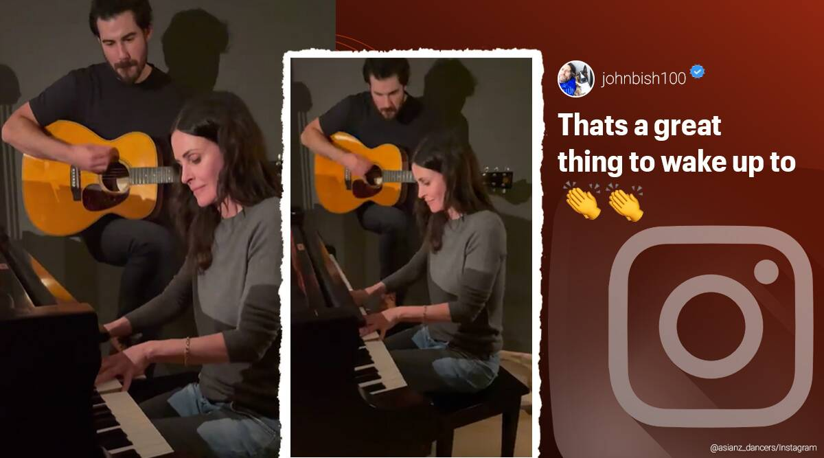 Courteney Cox, Friends series, Courteney Cox friends title song piano rendition, Friends sitcom theme song, I'll be there for you piano version, Courteney Cox I'll be there for you piano version, Courteney Cox piano version, Trending news, Indian Express news