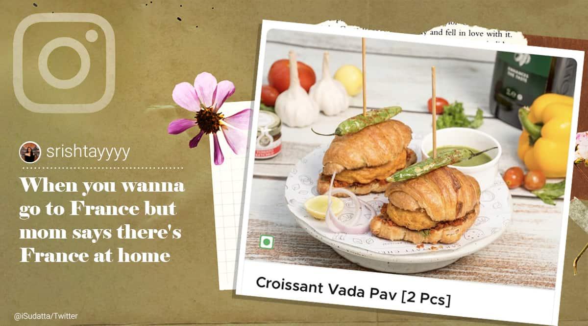 croissant vada pao, croissant vada pav, croissant vada, fusion food, bizarre food, weird food, croissant vada viral photo, indian express