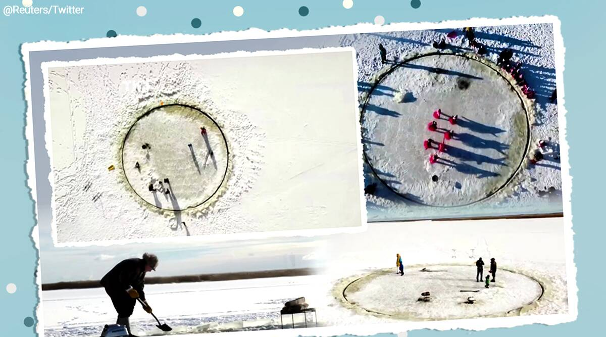 grandparents, grandfather builds ice carousel for kids, Estonia, Estonia grandfather viral video, frozen lake, trending, indian express, indian express news