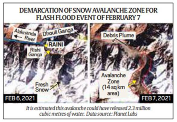 May not be glacial lake outburst, images show snow fell off mountain