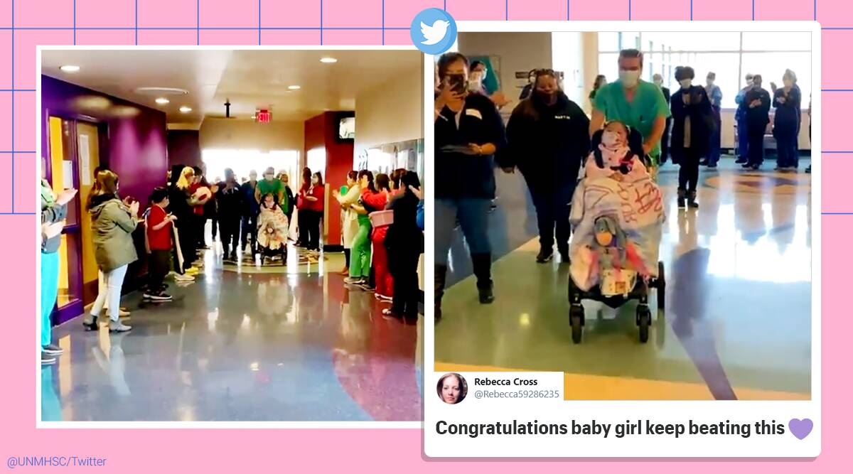 4 year old, celebratory send off from hospital Covid 19, Coronavirus patient send off, 4 year old celebratory hospital discharge, Coronavirus , 4 year old coronavirus patient, Viral video, trending news, indian express news
