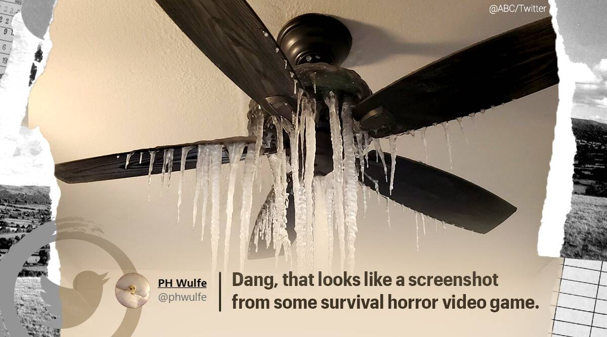 Icicles hang from ceiling fan inside apartment in Dallas, icicles viral picture, texas snow, texas cold weather, historic winter weather texas twitter reactions, indian express, indian express news