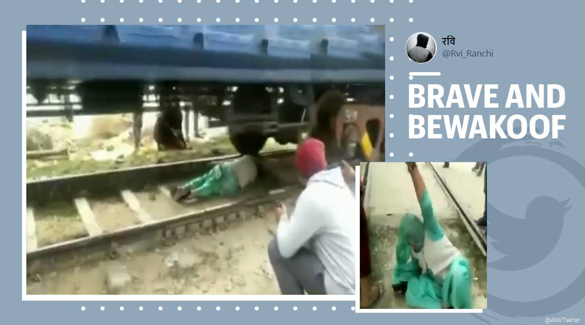 Haryana, Woman escape moving train, Woman trapped under moving train, Woman escape moving train viral video, Woman under moving train escape, Viral video, Woman lucky escape Haryana viral video, Trending news, Indian Express news