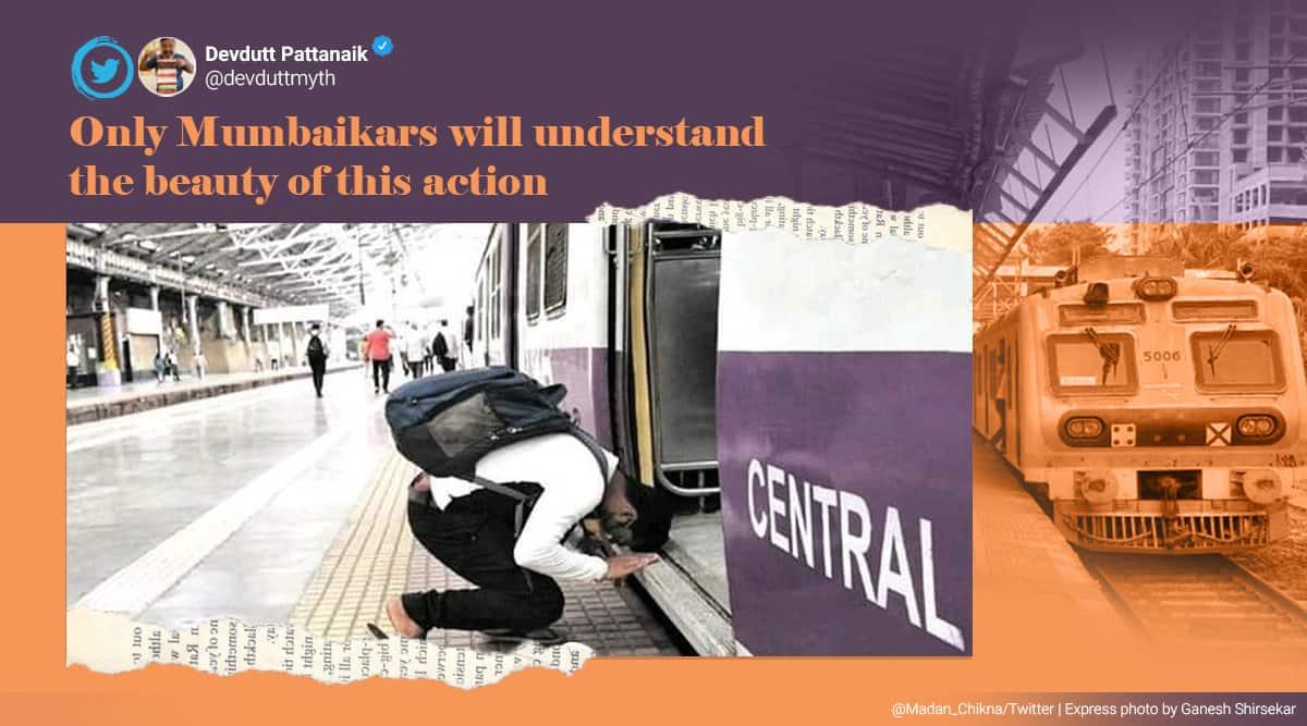 mumbai local, mumabi local train servicess resumed, mumbai local start again, coronavirus pandemic mumbai local, mumbai local viral picture, indian express
