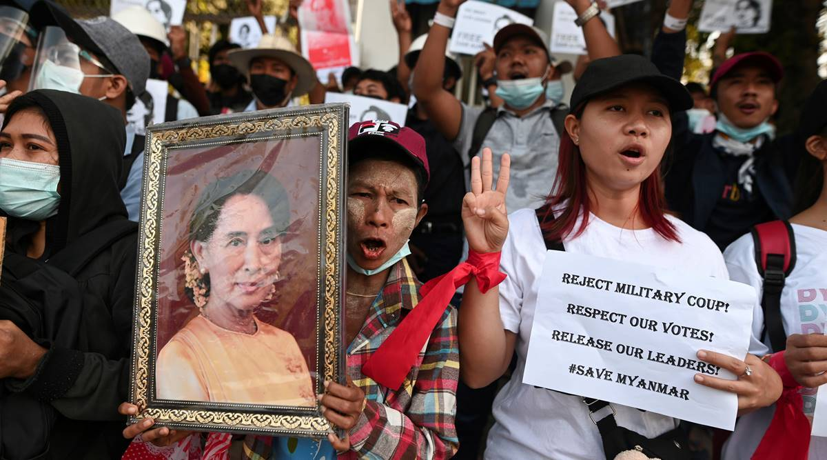 Myanmar, UN Human Rights Council, Aung San Suu kyi, Crowds defied curfews, Myanmar junta, civil disobedience, anti-coup demonstrations, myanmar news, world news, indian express world news