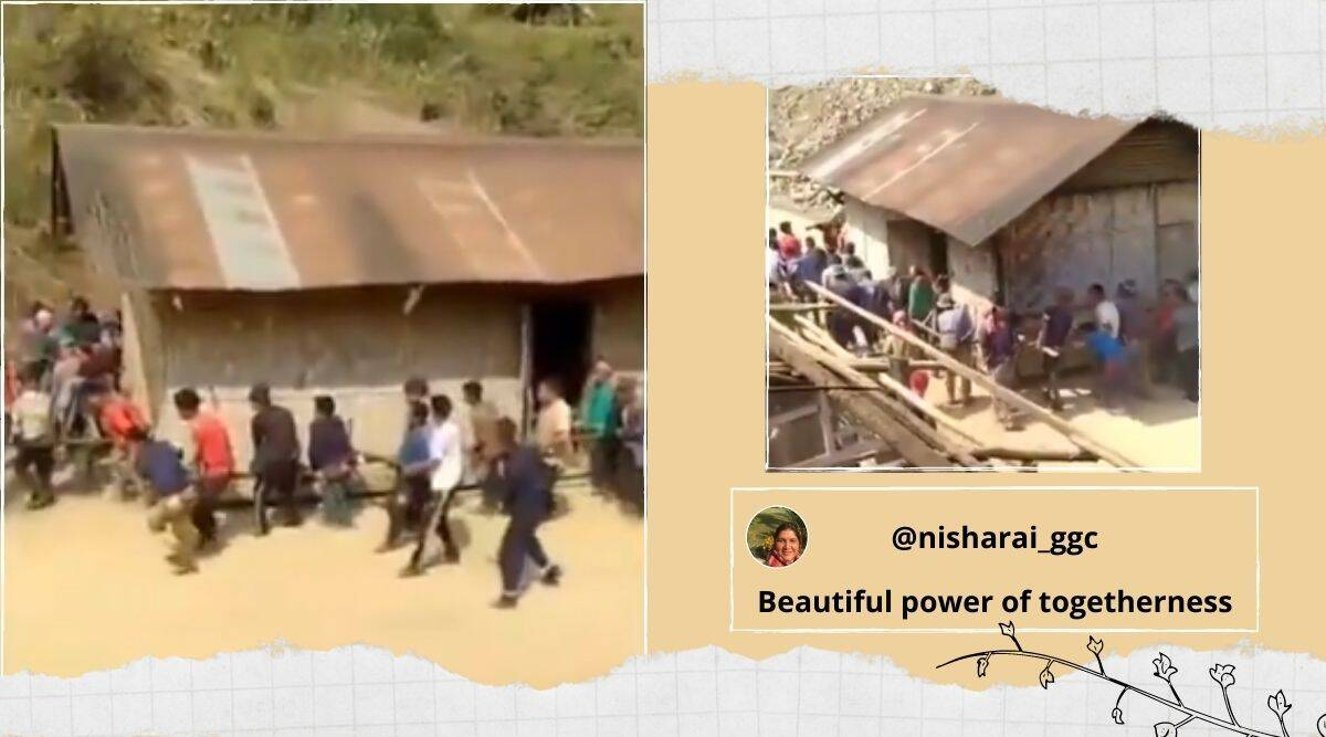 Nagaland, house shifting on foot, villages shift house with on foot, House shifting in Naga village, Thatched hut moved on foot, Viral video, Trending news, Indian express news