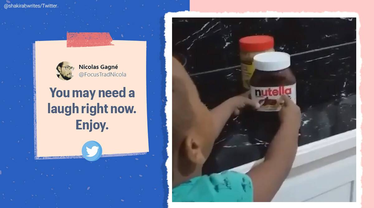 children wrong word video, boy say nutella as peanut butter, spelling fails, RIP english, viral videos, children funny videos, indian express