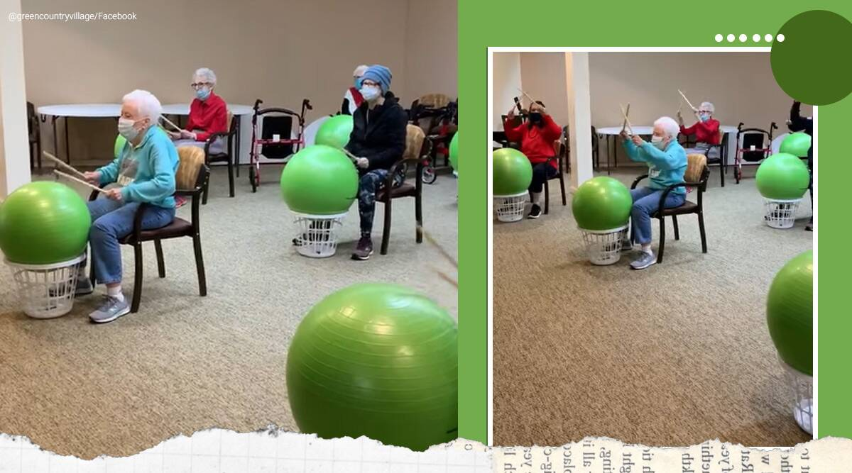 Bartlesville senior living community, elderly playing drums viral video, senior citizen, old age homes, Oklahoma, US, US news, trending, indian express, indian express news