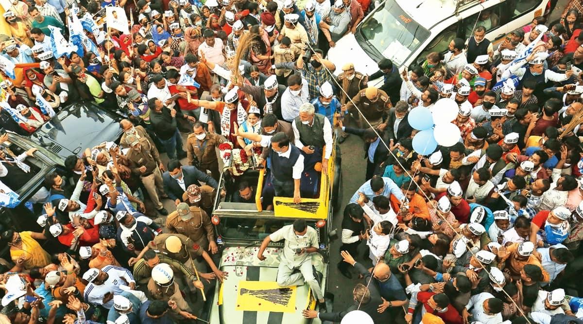 MCD bypolls, Arvind Kejriwal roadshow, Delhi CM, Delhi news, Indian express news