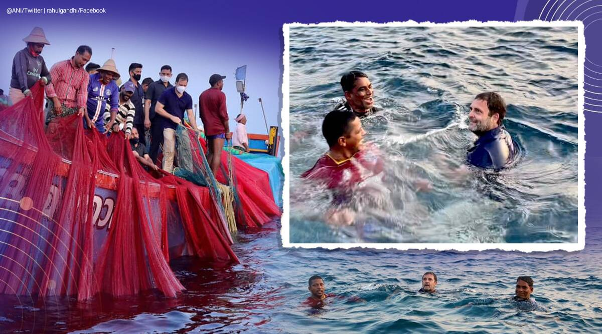 rahul gandhi, rahul gandhi kerala, rahul gandhi kerala fishermen sea dip, rahul gandhi casts net with fishermen, kerala news, indian express