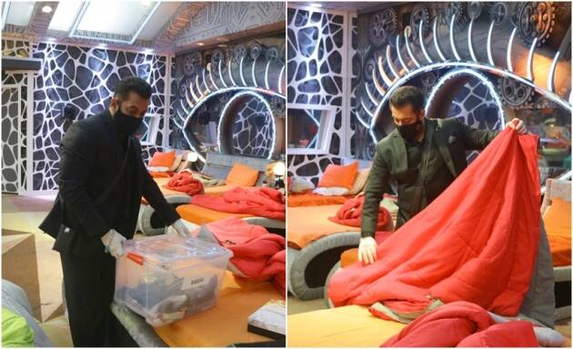 salman khan cleans rakhi sawant's bed bigg boss 14