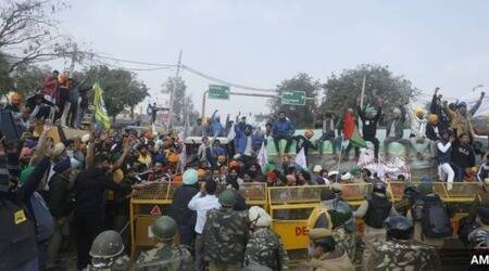 farmers protest, singhu border, delhi police, NH-44 blockade, Republic Day violence, indian express news