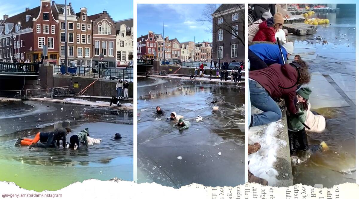 skater rescued pond Amsterdam, Amsterdam icy canals, Amsterdam skaters viral video, Amsterdam skater fall icy pond, twitter reactions, trending, indian express, indian express news