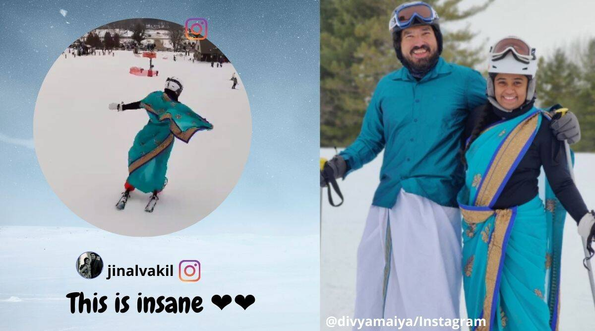 Couple skiing in saree Dhoti, Couple skiing in traditional clothing, Indian couple skiing in traditional attire, Minnesota, USA, Indian couple skiing viral video, Viral video, Indian Express news