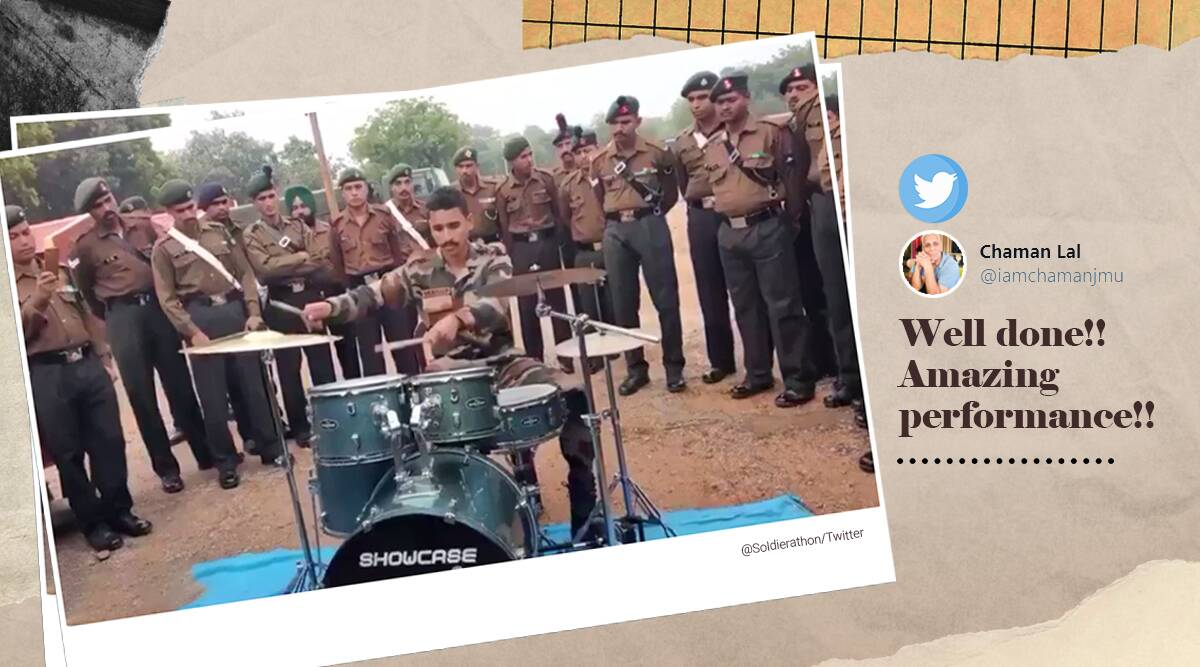 Soldier playing drums, viral video, Indian soldier playing drums, Indian soldier drum tricks, Trending news, Indian express news