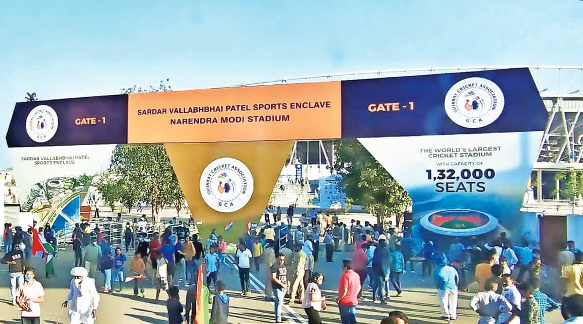 Sardar Vallabhbhai Patel stadium, motrera stadium renamed, narendra modi stadium, Hardik Patel, Amit Chavda, Nitin Patel, indian express news