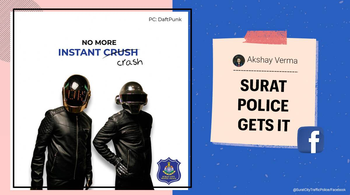 Surat Traffic Police, Traffic and Road Safety, Daft Punk reference, Surat Traffic Police Facebook, Daft Punk retirement, Daft Punk road safety memes, Daft Punk road safety poster, Daft Punk road safety advisory, Daft Punk helmet advisory Surat police, Trending news, Indian Express news