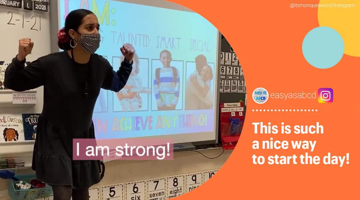 teacher, teacher affirmation song, Monique Waters, Kindergarten teacher's affirmation song viral video, trending, indian express, indian express news