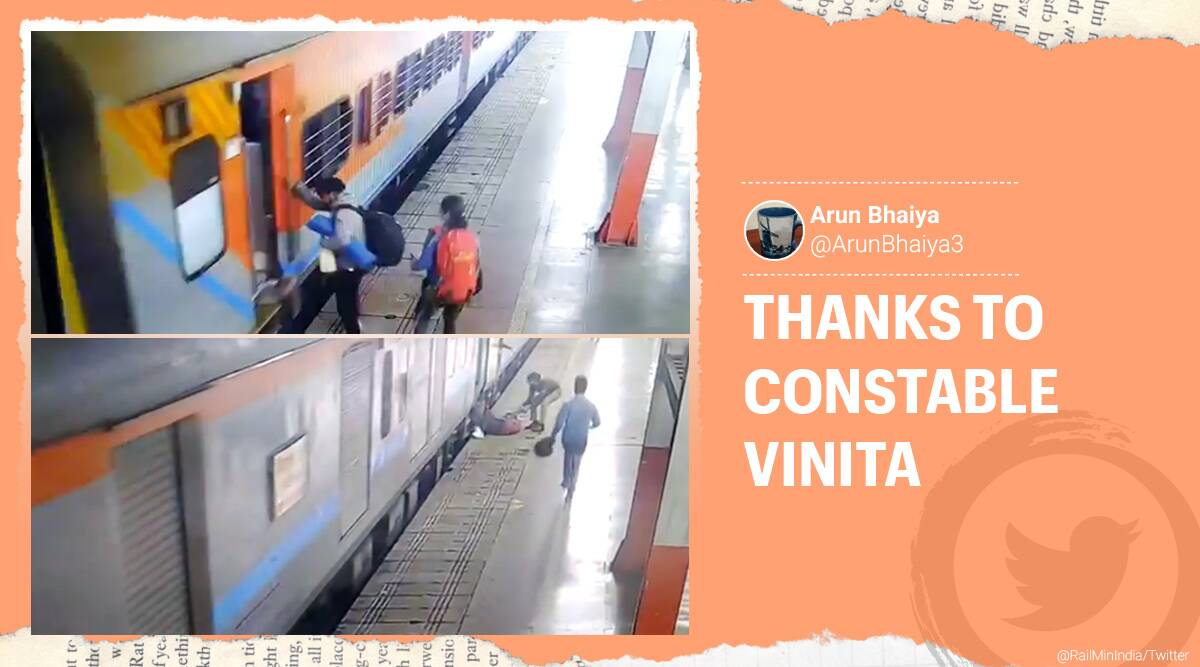 Lucknow, Woman boarding moving train, Woman slips boarding moving train, Lucknow woman constable passenger boards moving train, Passenger boards moving train rescue, Passenger boards moving train accident, Woman constable Lucknow railway station, Trending news, Viral video, Indian Express news