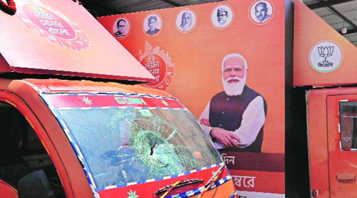 west bengal polls, west bengal polls date, bjp west bengal campaign, bjp vehicles attacked, Bjp vehicles vandalised, indian express news