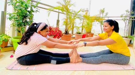 yoga, yoga for kids, yoga poses for kids, yoga asanas for kids, yoga with child, yoga with partner, health, parenting, Valentine's Day activity, indian express news