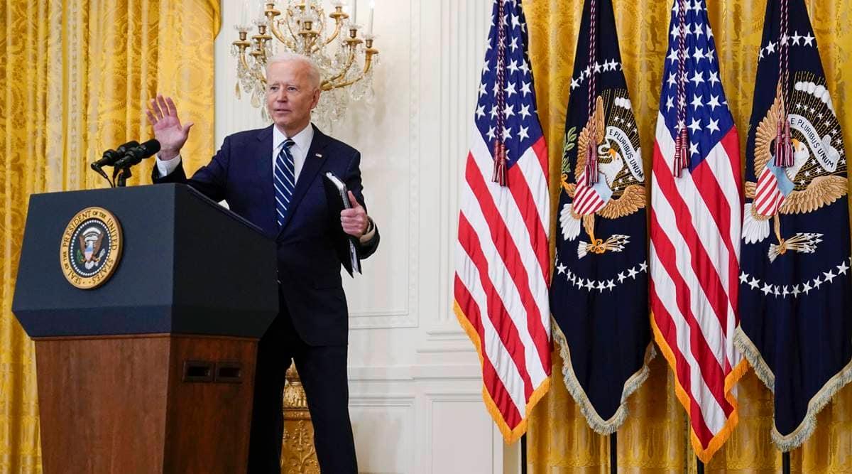 Joe Biden FIRST NEWS CONFERENCE, Joe Biden news conference, Joe Biden north korea, Joe biden china, joe biden covid us, indian express