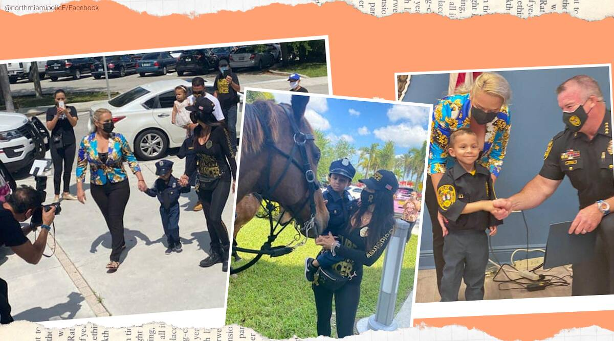 Boy battling cancer sworn in as police officer, 5 year old police officer, good news, positive news, Youngest North Miami Police, Trending news, Indian express