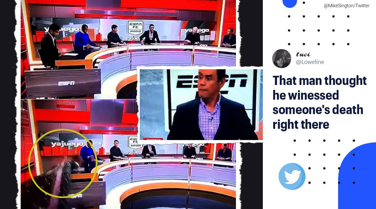 Set falls on anchor live TV, Carlos Orduz, ESPN Colombia, Part of the set falls on journalist, Viral video, Colombia news, Trending news, Indian Express news.