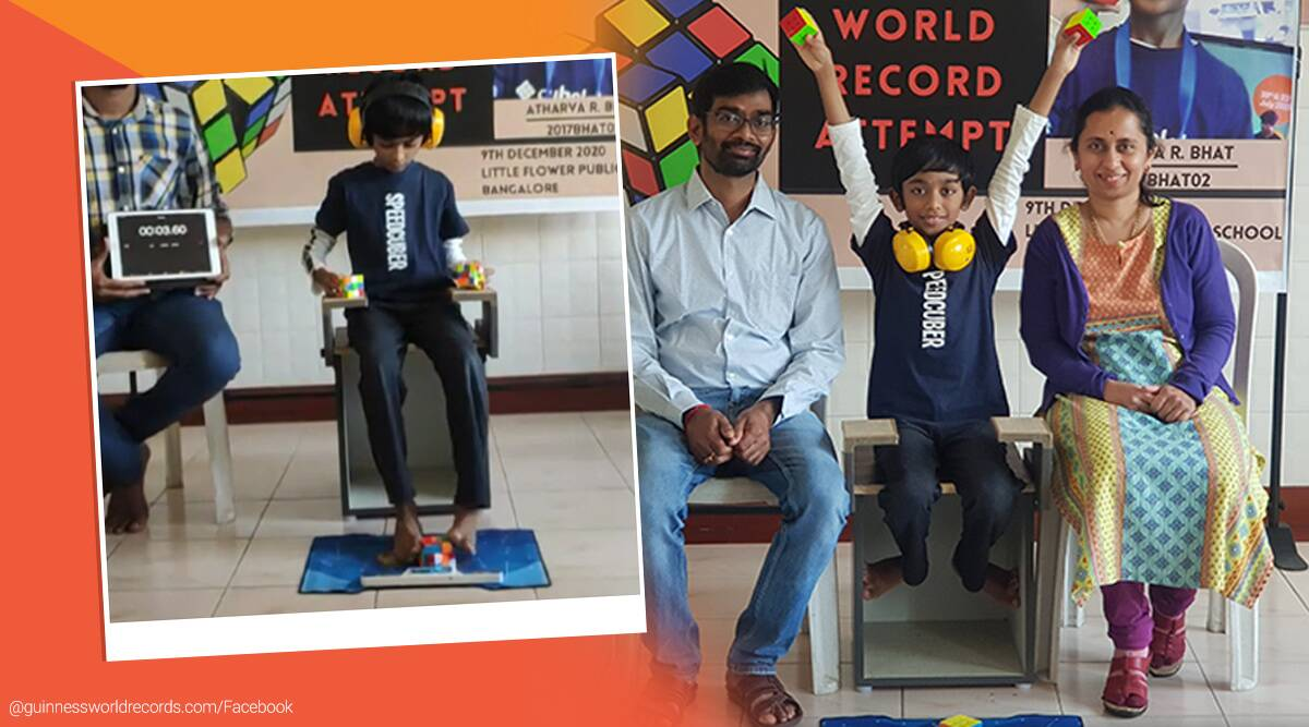 Guinness World Records, GWR, 8-year-old, Rubiks cube soling, faster Rubik's cube solver, Banglore, boy Rubik's cube solve hands and feet, boy solves three Rubik's cubes simultaneously, trending news, India Express news
