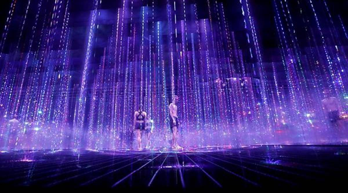 Japan's teamLab, Tokyo-based digital art group, Roppongi district, art, art installations, museum and sauna, indian express news
