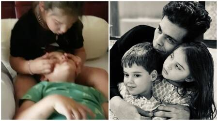 Karan Johar kids video protective sister side of daughter Roohi Yash Johar