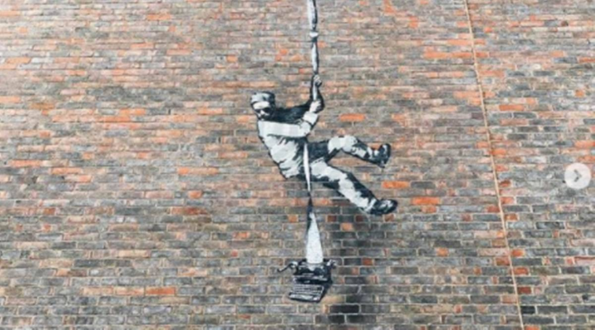 Banksy, Banksy latest, Banksy artwork, Banksy artwork on prison wall, Banksy news, Banksy art, street artist Banksy, indian express news