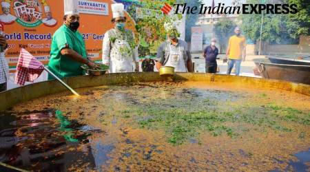 misal 'world record', world record created with misal, 7,000 kg of 'maha misal' in Pune, Chef Vishnu Manohar, indian express news