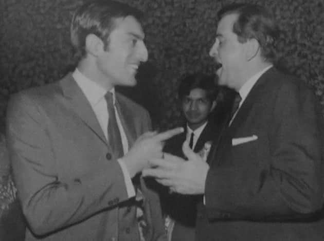 Mansoor Ali Khan Pataudi with Raj Kapoor
