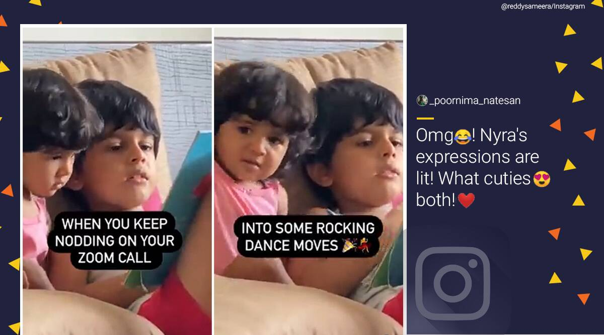 Sameera Reddy, Sameera Reddy Instagram, Sameera Reddy videos, Sameera Reddy children videos, Sameera Reddy zoom call children video, Sameera Reddy zoom call funny video, Trending news, Indian Express news