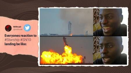 SpaceX, SpaceX Starship explosion memes, SN10 explode Twitter reaction, SN10 successful landing, Elon Musk, Twitter reactions, SpaceX Starship memes, SpaceX Starship explosion memes, Trending news, Indian Express news