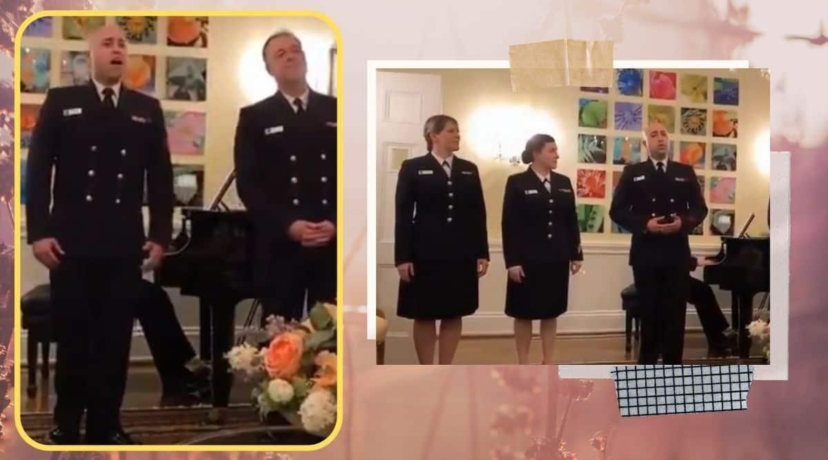 US Navy sang, US Chief Naval Operations Michael M Gilday, Indian Ambassador Taranjit Singh Sandhu, Yeh Jo Desh Hai Tera Swades, Swades songs, viral video, trending, indian express, indian express news
