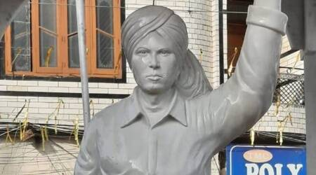statue of Shaheed Bhagat Singh, Bhagat Singh Chowk, Jalandhar Bhagat Singh, Bhagat Singh controversy, BJP on Bhagat Singh, Bhagat Singh Punjab CM, india news, indian express