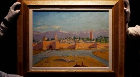 Winston Churchill, Winston Churchill painting, Winston Churchill Tower of the Koutoubia Mosque, winston churchill angelina jolie, Tower of the Koutoubia Mosqueauction, Christie's in London auction, winston churchill Christie's London auction, art auction, art news, indian express art news