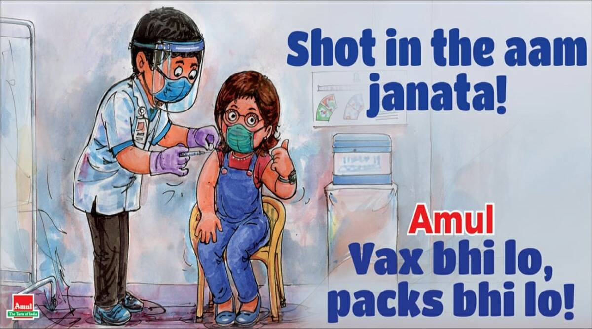 amul cartoon, second phase vaccination, covid 19 vaccine, covid vaccination india, covid 19 vaccine for general people, viral news, indian express