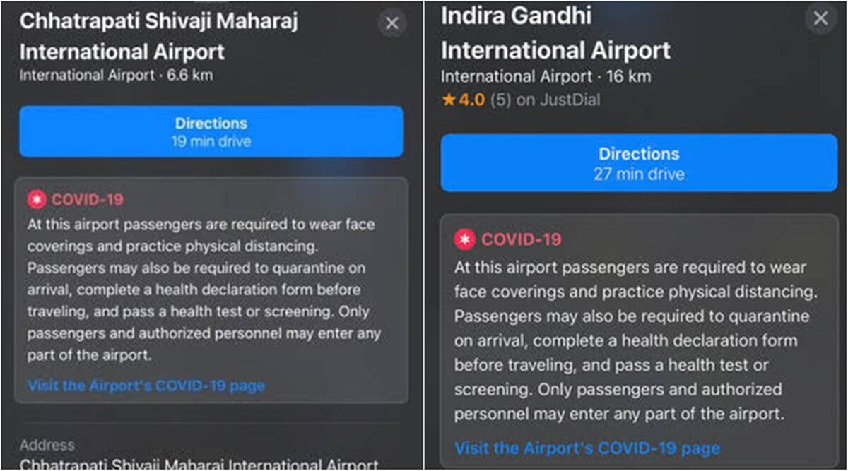 Apple maps, apple maps airport covid 19 info, apple maps aci integration, apple maps covid 19 health info indian airports, Apple maps Airports Council International, Airports Council International check and fly